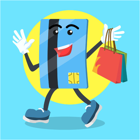 credit card carrying shopping bag Illustration