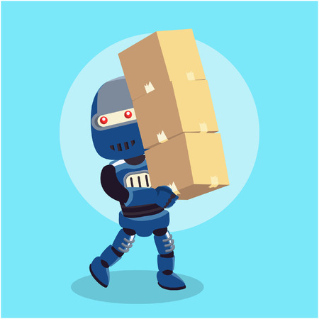 blue robot carrying stack of box