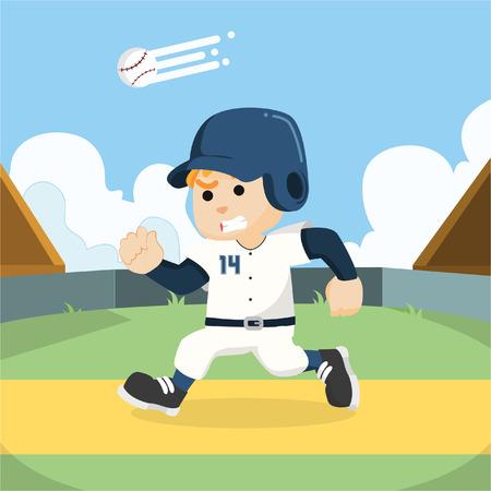 baseball player running to base Illustration