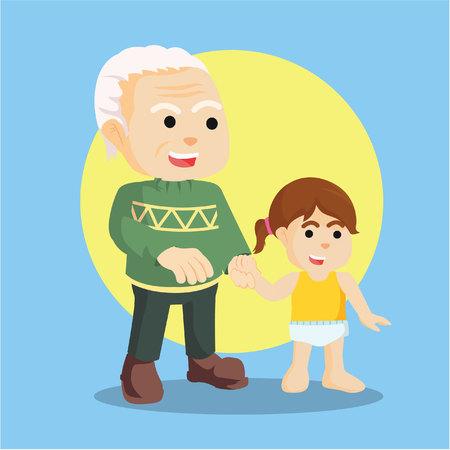 grandchild: grandfather with his grandchild