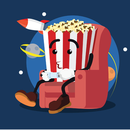 popcorn man playing games illustration design