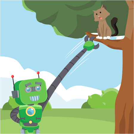 green robot rescuing cat