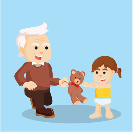 grandchild: grandfather giving dool to grandchild