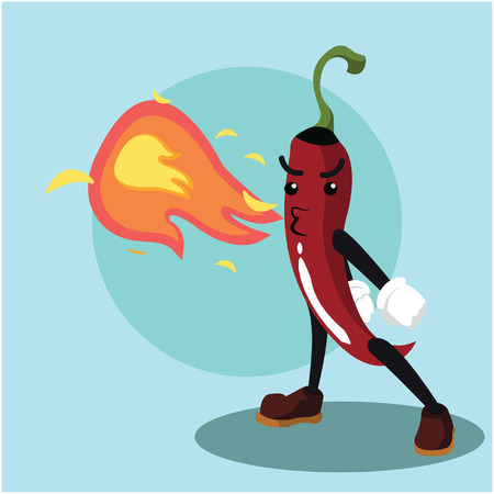 spicy mascot: chili man breathing fire illustration design