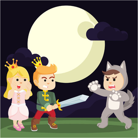 prince protect princess from were wolf Illustration