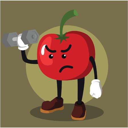 dumbell: tomato man lifting dumbell