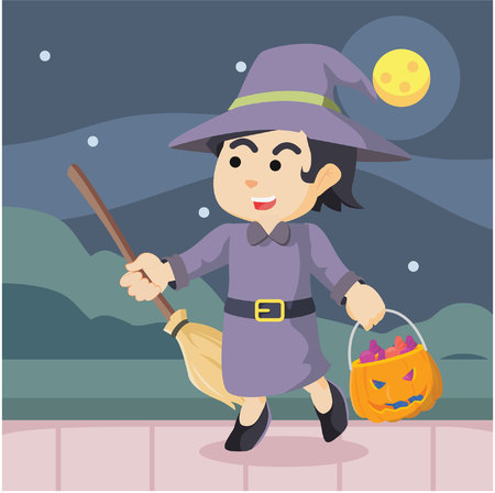 witch in halloween colorful Illustration