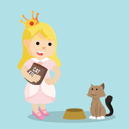little one: princess giving food to cat Illustration