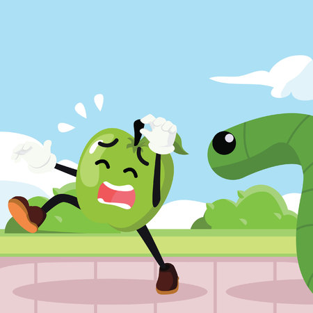 chased: apple man chased by giant worm