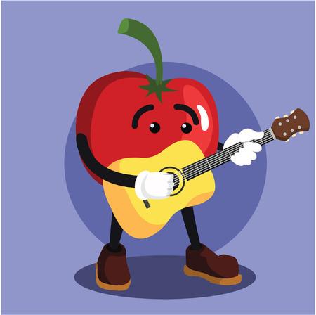 man playing guitar: tomato man playing guitar Illustration