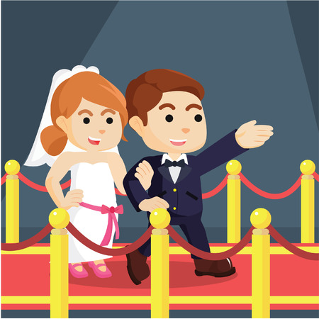 married couple walking on red carpet Illustration
