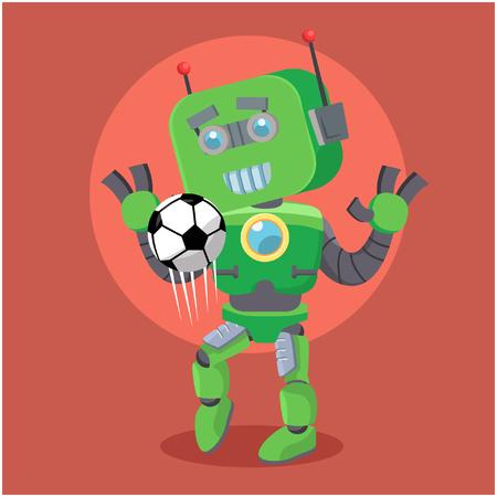 workmanship: green robor juggling football Illustration