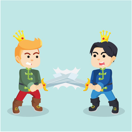 a charming: prince with sword fighting each other