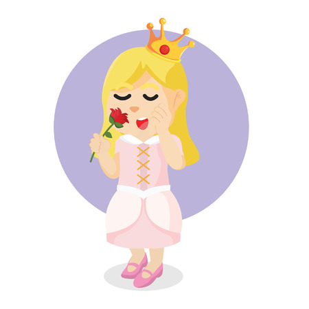 princess holding flower colorful Illustration