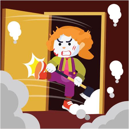 smashed: crazy clown smashed door colorful Illustration
