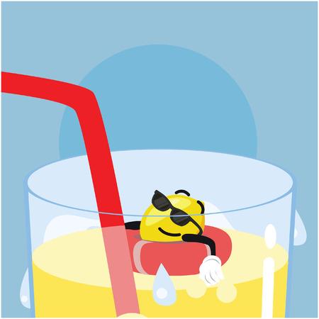 tanning: lemon man tanning on lemonade