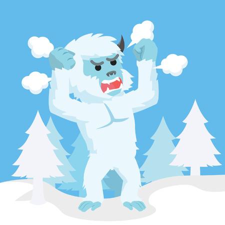 yeti: yeti angry illustrwallet cheerful huggin moneyation design Illustration
