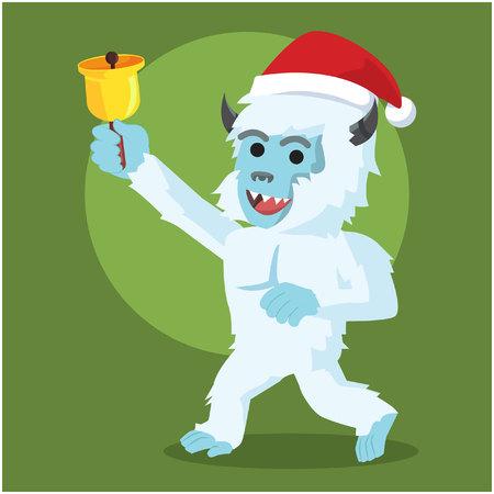 yeti: yeti in christmas colorful Illustration