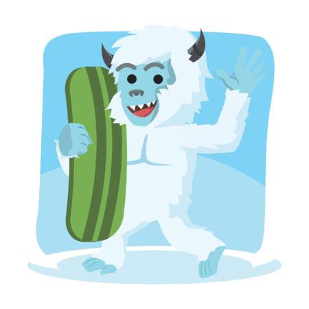 yeti: yeti carrying snow board