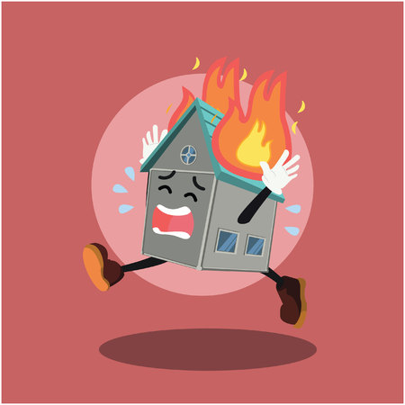 house on fire colorful Illustration