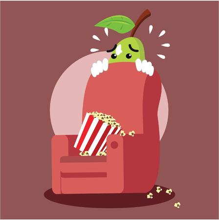 horror movie: pear man scared of horror movie