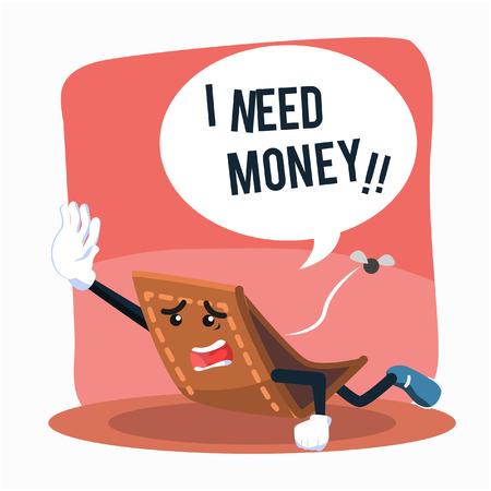 empty wallet: wallet losing money illustration design Illustration