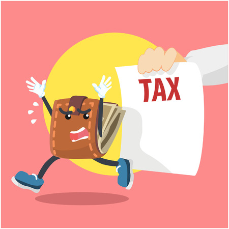taxpayer: wallet run from taxes hand Illustration