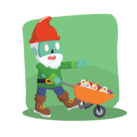 gnomos: zombie gnomes with cart vector illustration design