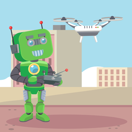 controlling: green robot controlling drone