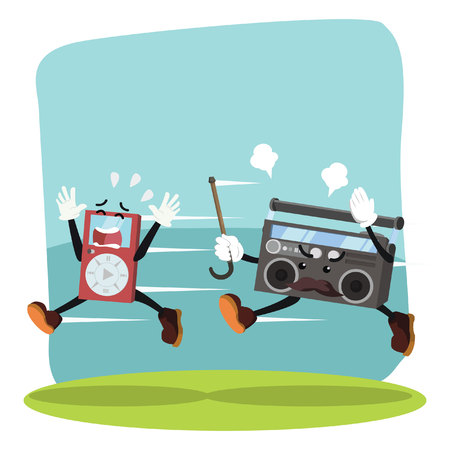 panicked: radio chasing mp3 player vector illustration design