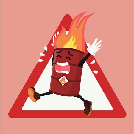 barrel flammable warning sign