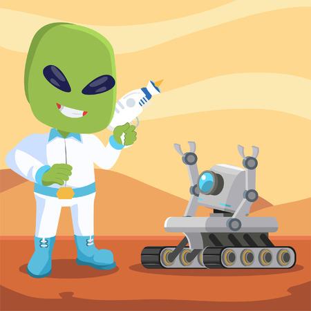 descubridor: mars robot meet alien Vectores