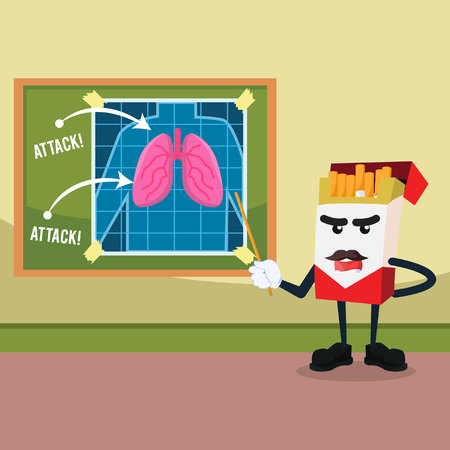 attack: cigarette planning to attack lung Illustration