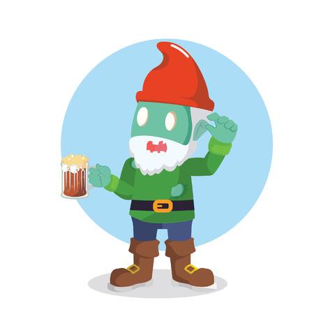 gnomos: zombie gnomes holding beer vector illustration design Vectores