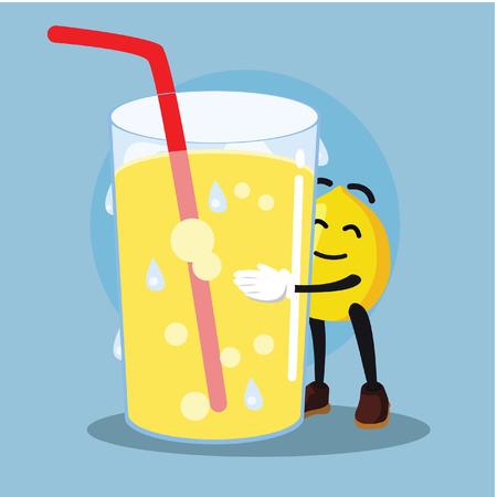 lemon man loves lemonade Illustration