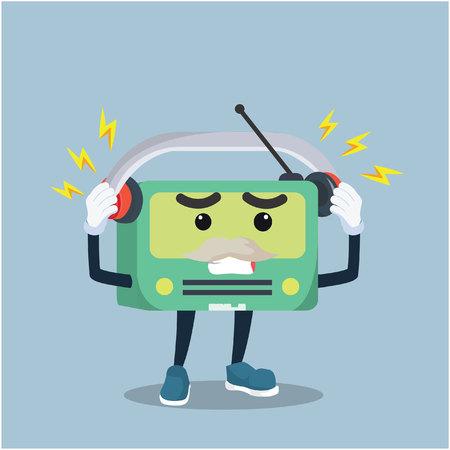 disturbed: old radio disturbed by music Illustration
