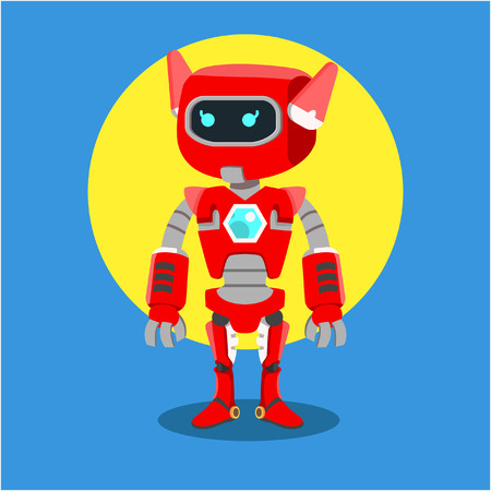 female red robot colorful Illustration