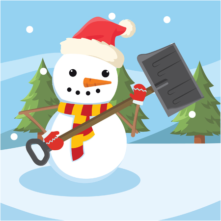 shoveling: snowman shoveling snowdrift colorful