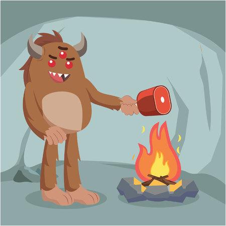 Bigfoot kokend vlees op ontwerp van de brand het vectorillustratie Stock Illustratie
