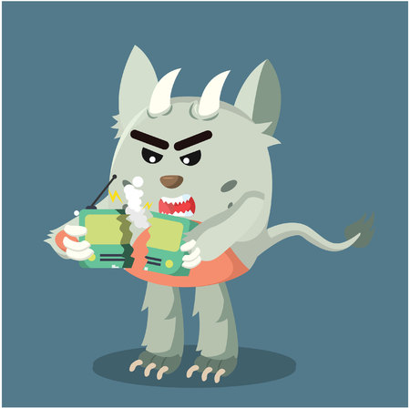 grumpy: grumpy monster angry radio broken Illustration