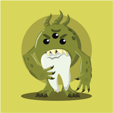 bacteria tooth: bacteria eating tooth vector illustration design