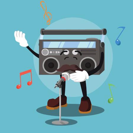 radio singing vector illustration design