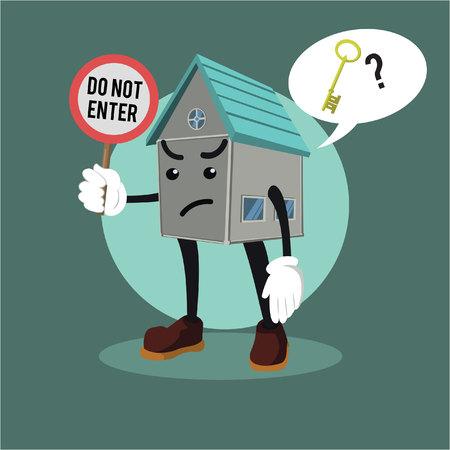 house exchange: house asking for key Illustration