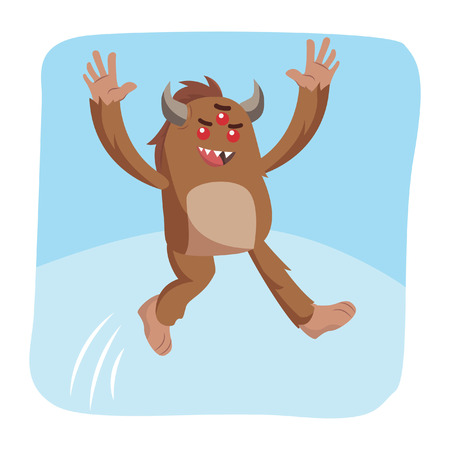 bigfoot jumping vector illustration design