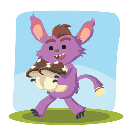 carrying: small purple monster walking carrying mushroom Illustration