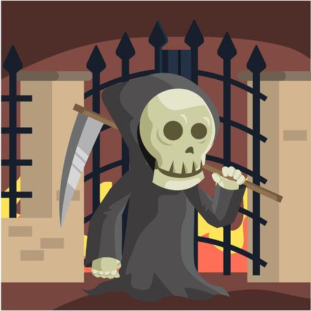 hell: grim reaper guarding hell gate Illustration