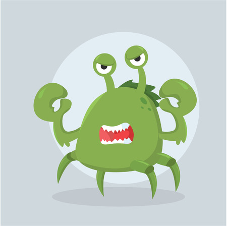 green crab: crab monster angry vector illustration design