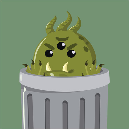micro organism: bacteria in the garbage can Illustration