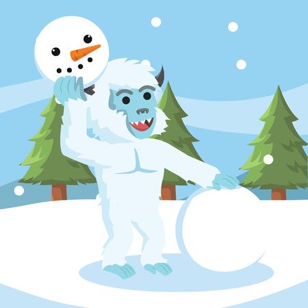 yeti make snowman colorful