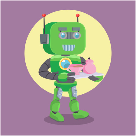 carrying: green robot carrying tea Illustration